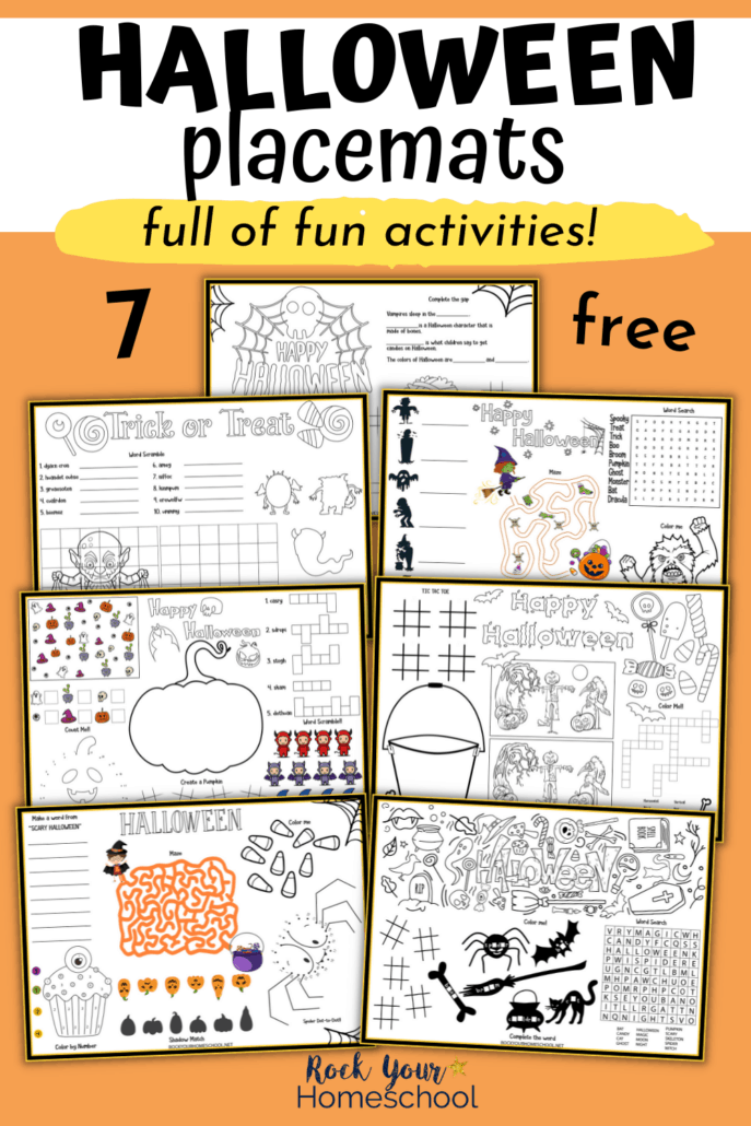 7 Free Halloween Placemats for Fun Holiday Activities for Kids