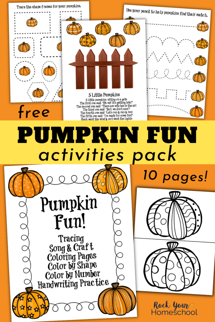 Pumpkin Fun! printable pack cover with pumpkin coloring pages, tracing, song and craft, and more to feature how you can use this free Learning Fun with Pumpkins set for Fall activities with your kids