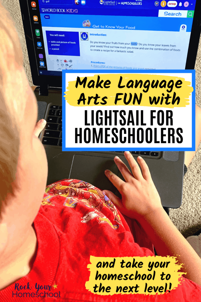 Young boy using laptop to learn about food groups on LightSail for Homeschoolers to feature how you can use this online program to boost learning at home and make language arts fun