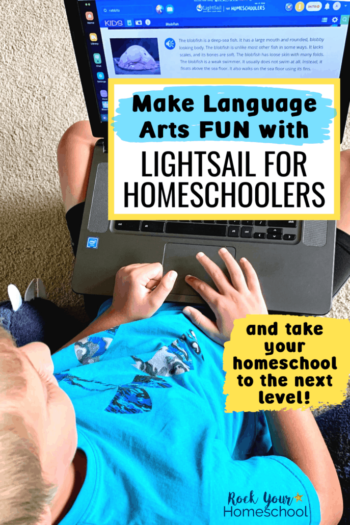 Boy using laptop to learn about blobfish to feature how you can use LightSail for Homeschoolers to make language arts fun for your kids