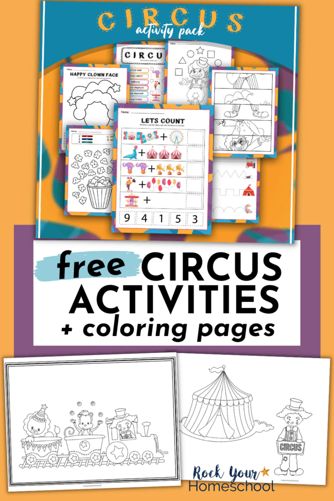 Circus printable activities for coloring, scissors skills, tracing, and more to feature how you can use this free pack of circus activities for kids