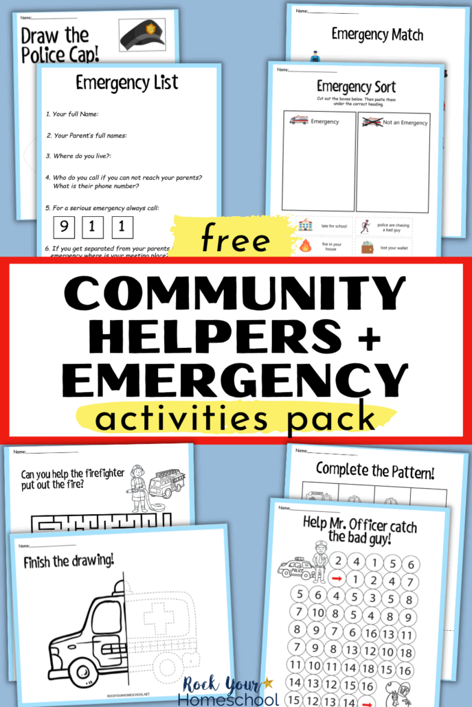 Free Community Helpers Activities Pack to Teach Kids About Emergencies and More