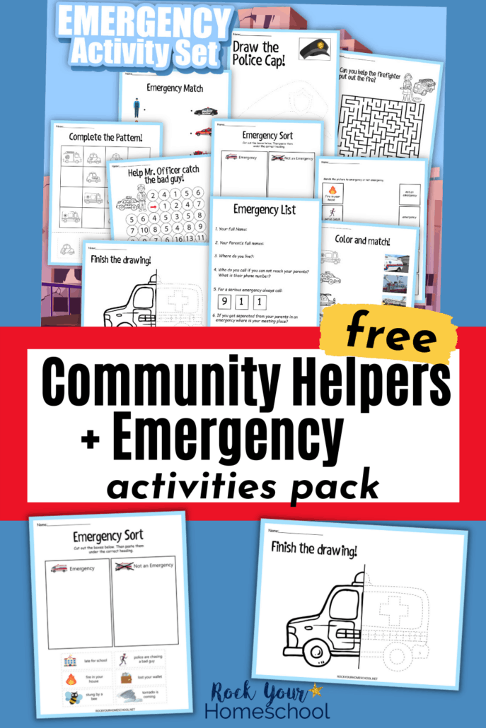 Community helpers activities and emergency activity set cover to feature the fantastic learning fun your kids will have with this free printable pack
