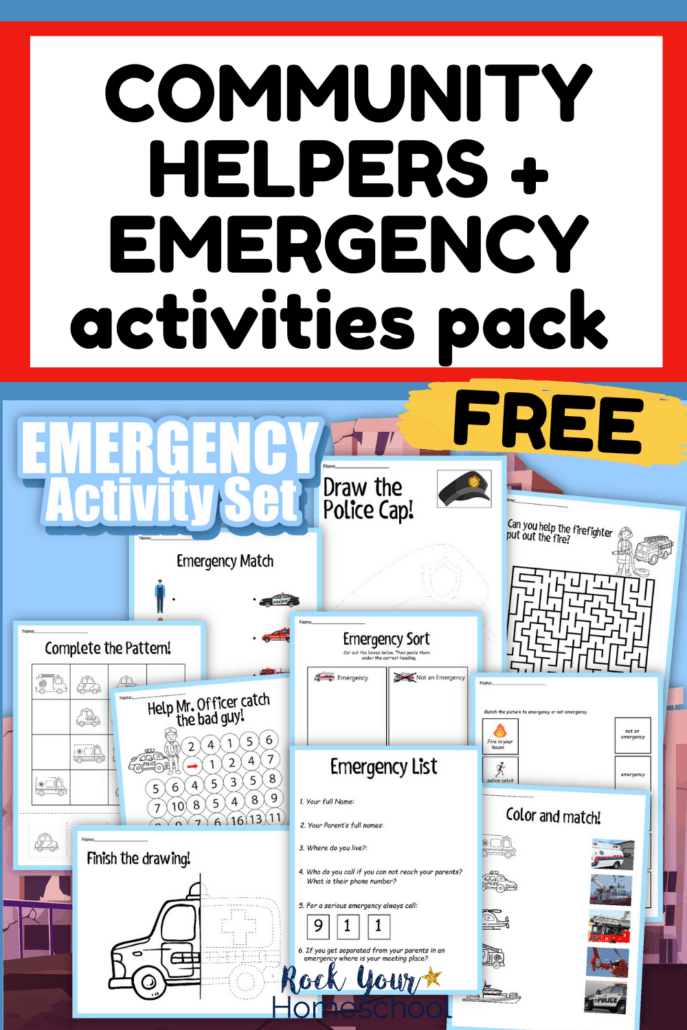 Emergency Activity Set and Community Helpers Activities Pack cover to feature how you can use this free printable set to help your kids learn these essential skills