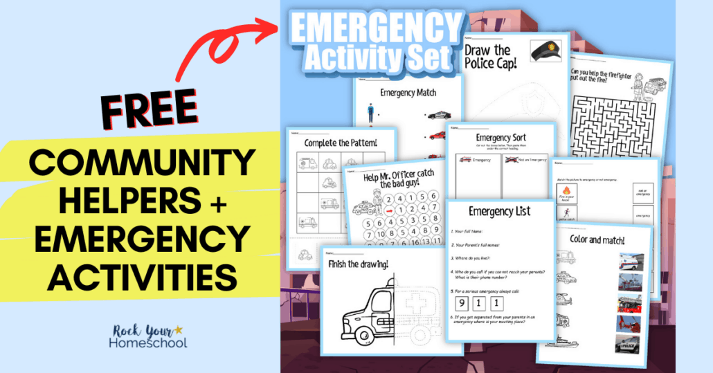 The free community helpers activities pack helps you teach your kids about what to do during an emergency.