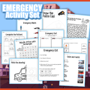 This free community helpers and emergency activities pack is an excellent way to help your kids learn about what to do in an emergency. Lot of printables to make learning fun!