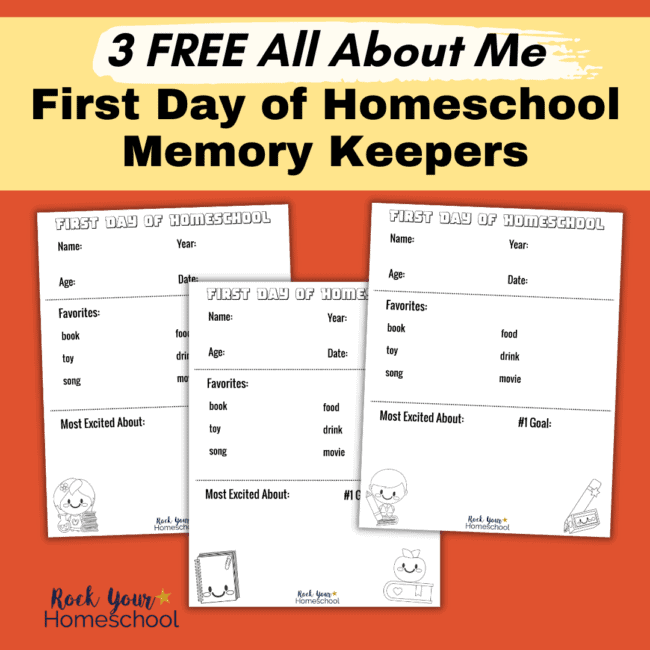 This free set of 3 All About Me pages in different styles is fantastic for first day of homeschool fun.