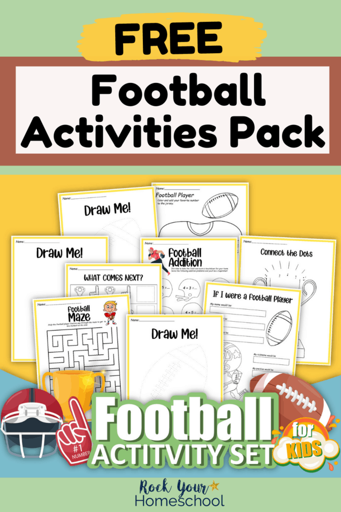 Football printables pack cover with coloring pages, addition, and more to feature how you can use these activities to make learning fun