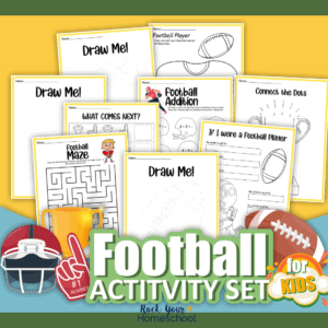 This free football printables pack is a fantastic way to make learning fun for kids. Includes football coloring pages and more!