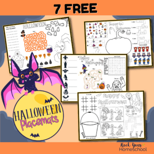 Get this set of 7 free Halloween placemats for easy holiday fun activities for kids.
