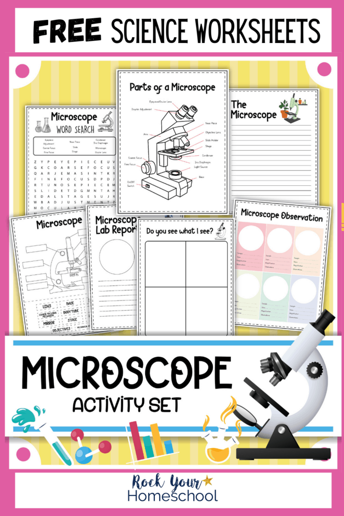 Microscope activity set cover with printable activities to feature this set of free microscope worksheets