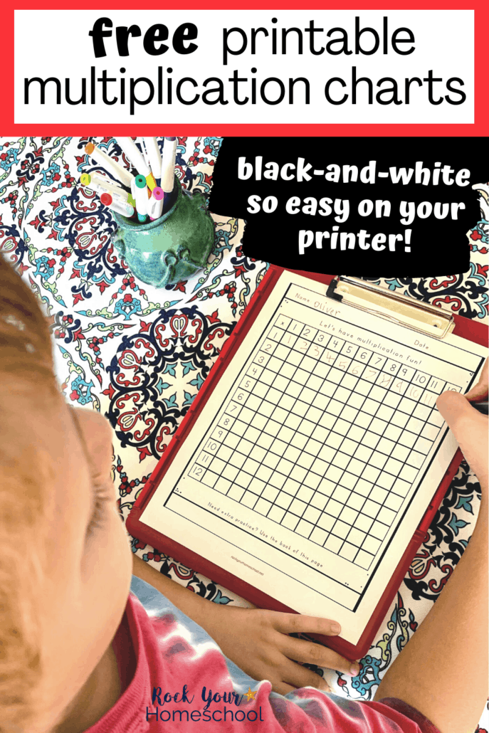 Boy completing blank multiplication chart with erasable pen to feature how you can use these 5 creative ideas for using these 3 free multiplication charts that are printer-friendly
