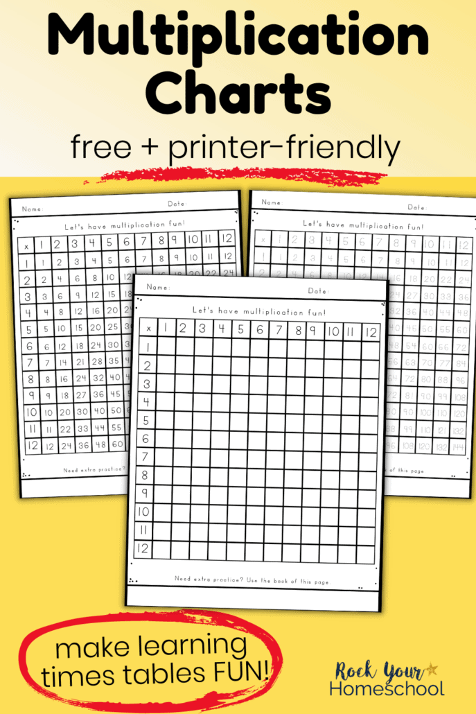 3 free multiplication charts in blank, tracing, and filled-in to feature this printer-friendly (black-and-white)set for practicing times tables