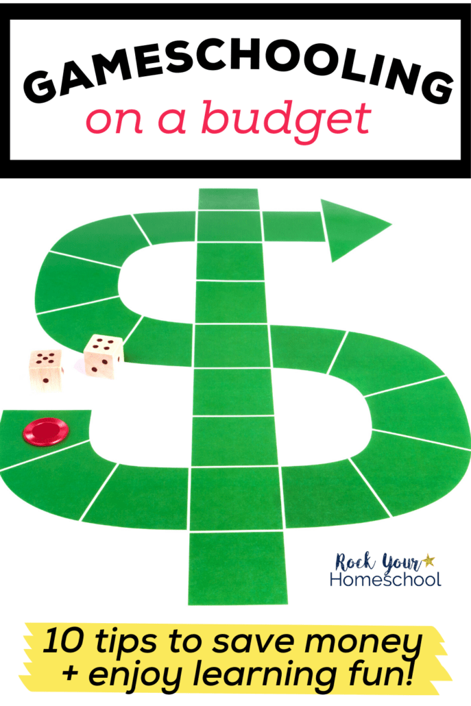 Dollar sign game board with 2 dice and a red chip to feature how you can use these 10 tips and ideas for gameschooling on a budget to make learning fun with games without going broke