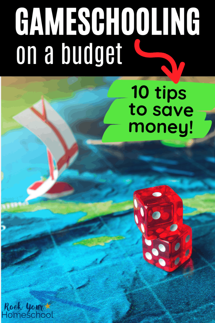 DIY game board for an ocean game featuring ships and 2 red dice to show how you can use these 10 tips and ideas for gameschooling on a budget so you can make learning fun with games and save money