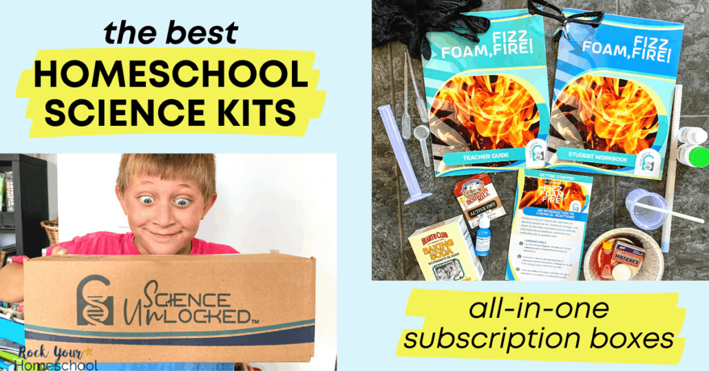 These homeschool science kits are fantastic ways to make it easy on you & delightful for your kids. Science Unlocked are all-in-one subscription boxes plus curriculum.