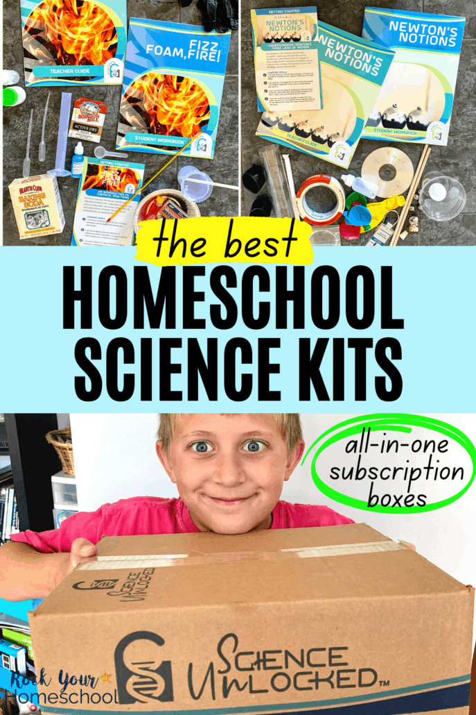 Science supplies, teacher guides, and student workbooks and young boy holding Science Unlocked box to feature the best homeschool science kits to make it easy on you and delightful for your kids