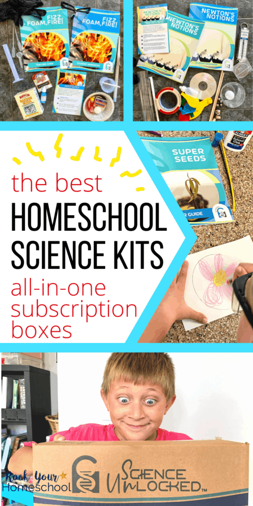 Science supplies, teacher's guides, student workbooks, boy working on pollination activity, and boy smiling as he holds Science Unlocked box to feature the best homeschool science kits to make it easy on you and delightful for your kids