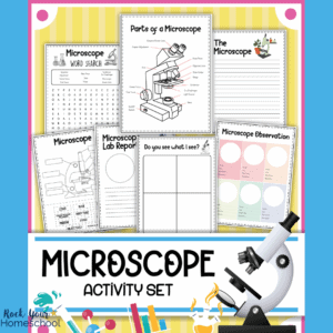cover of free microscope worksheets set
