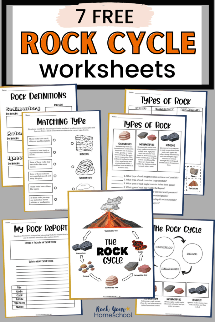 7 Rock cycle worksheets with poster, matching, rock report, rock definitions, and types of rocks to feature how you can use these rock cycle activities for science fun