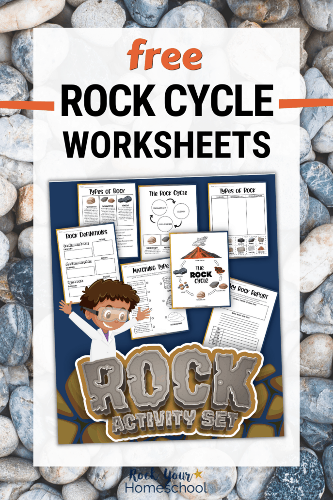 Rock activity set cover with 7 rock cycle worksheets to feature how you can use this free set for science fun for kids