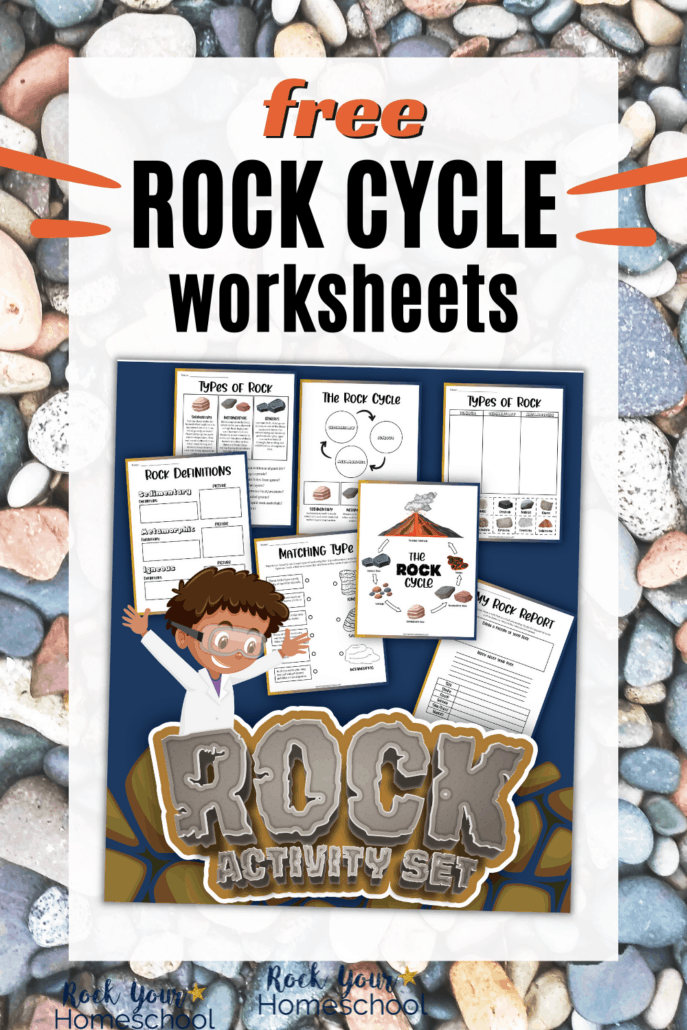 rock activity set cover with variety of rock cycle worksheets to feature how you can use this free set for science fun for kids
