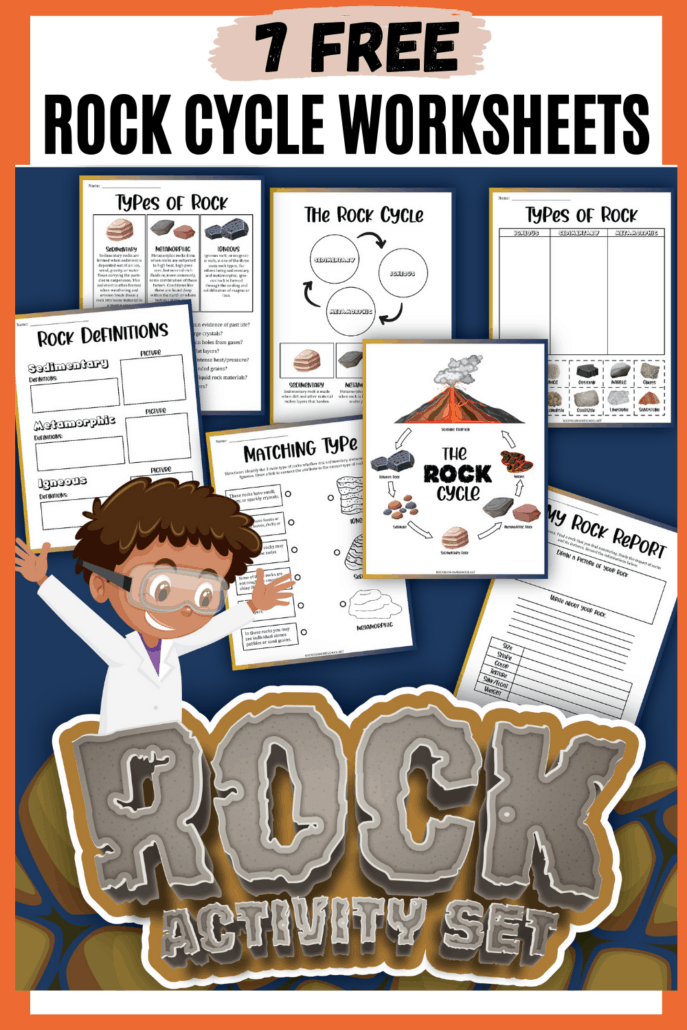 Rock activity set cover with 7 worksheets to feature how you can use this free set of rock cycle worksheets for spectacular science fun for kids