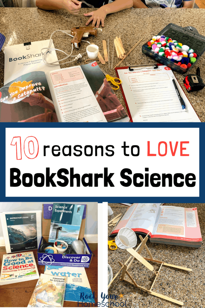 Boy with BookShark Science books and supplies and BookShark Science Level F package and catapult made out of popsicle sticks and rubber bands to feature the 10 reasons why you'll love these homeschool science curriculum packages for hands-on learning fun