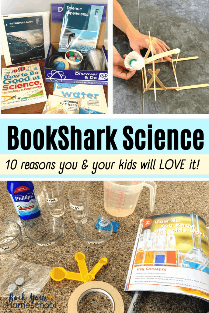 BookShark Science Level F package and boy using popsicle stick catapult with pompom and science supplies and experiment book to feature the 10 reasons you and your kids will love these homeschool science curriculum packages