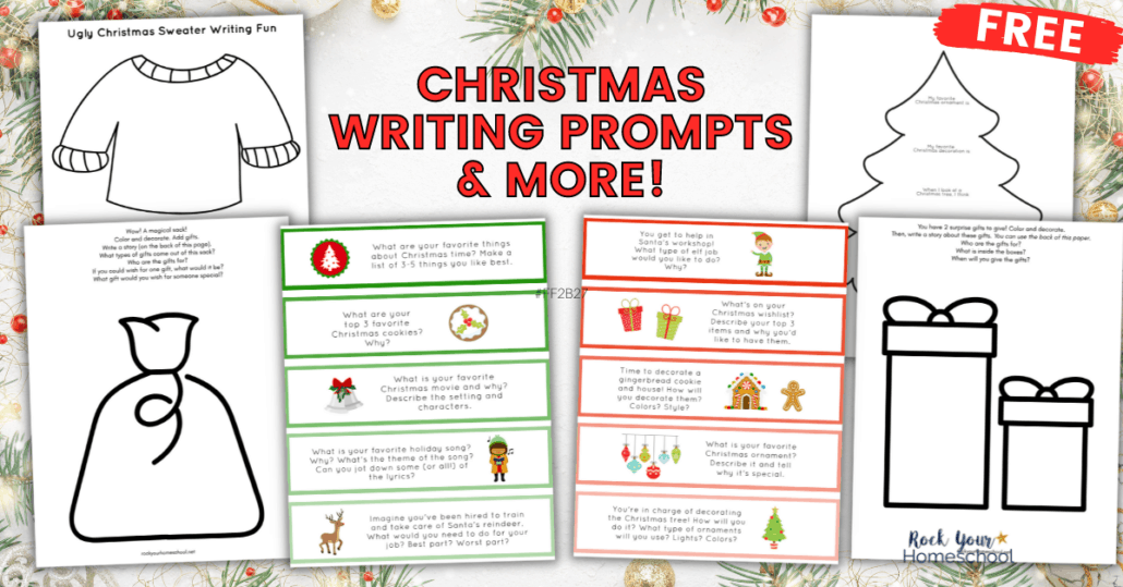 This free set of Christmas writing prompts has 10 pages for a variety of ways to write & draw for holiday learning fun for kids.