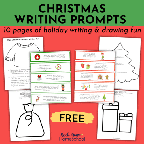 This free set of Christmas writing prompts has 10 pages to help your kids enjoy creative learning fun this holiday season.