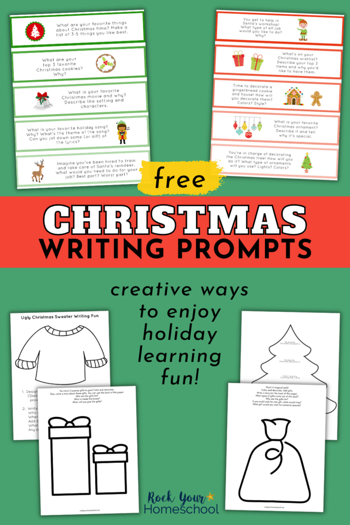 free Christmas writing prompts in color and black-and-white to feature how you can use this free set of printables for creative writing and drawing fun for kids during the holidays
