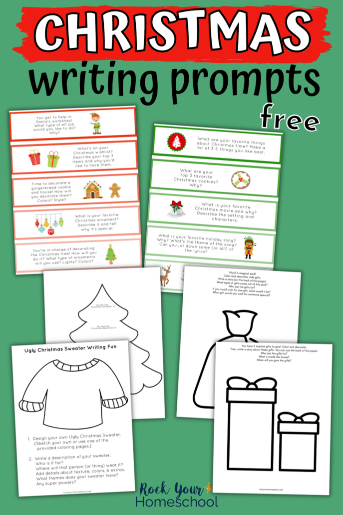 Variety of Christmas writing prompts in color and black-and-white to feature how you can use this set of free Christmas printables for holiday learning fun