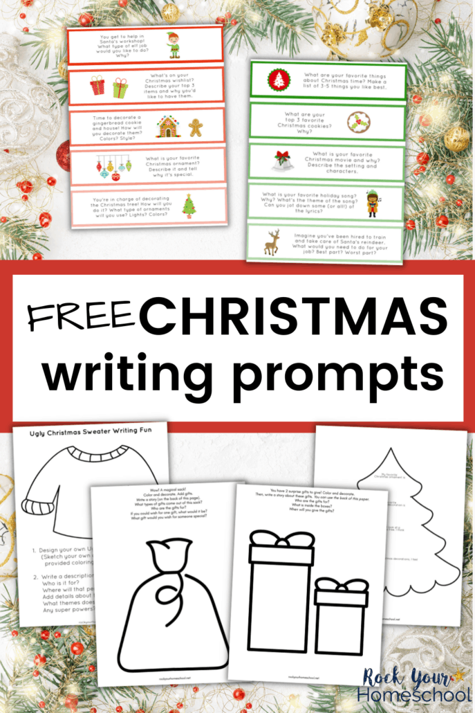 free Christmas writing prompts in color and black-and-white to on Christmas background with ornaments, pine branches, and red berries to feature how you can use this set of Christmas printables to boost writing and drawing fun during the holidays