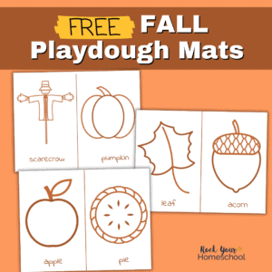 3 Fall playdough mats featuring scarecrow, pumpkin, leaf, acorn, apple, and pie