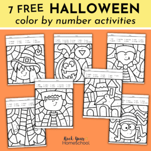 Get this free set of 7 Halloween color by number activities.
