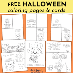 Grab this free set of Halloween coloring pages and cards for simple yet super holiday fun.