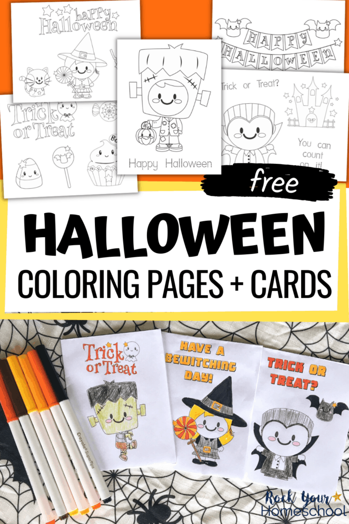 Halloween coloring pages featuring cute witch, black cat, bats, candies, Frankenstein, and vampire and Halloween coloring cards with markers to show how you can add a special touch of creativity to your Halloween fun for kids