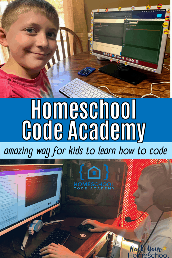Tween boys on computers doing coding lessons to feature how Homeschool Code Academy is an amazing way for kids to learn how to code using a self-paced course