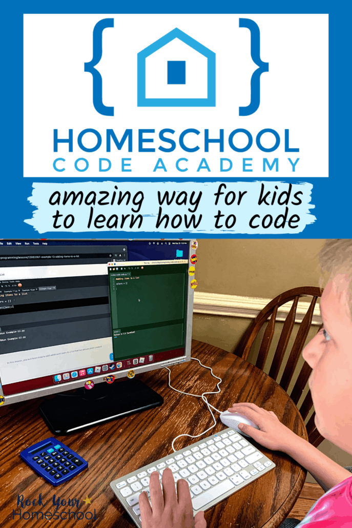 Homeschool Code Academy logo and tween boy on computer doing a coding lesson to feature how this self-paced course will help your kids get a fantastic introduction to coding