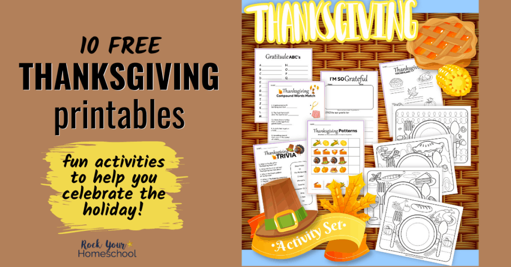 Get ready for some terrific holiday fun for kids! This free pack of 10 Thanksgiving printables is full of ways to keep kids busy and happy.