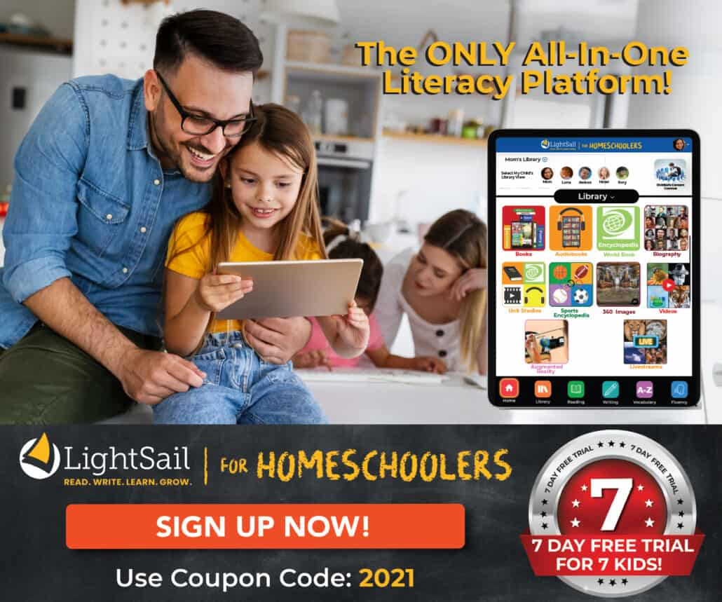 LightSail for Homeschoolers is an amazing way to make language arts fun. Give it a try with this 7 day free trial (for 7 kids)!
