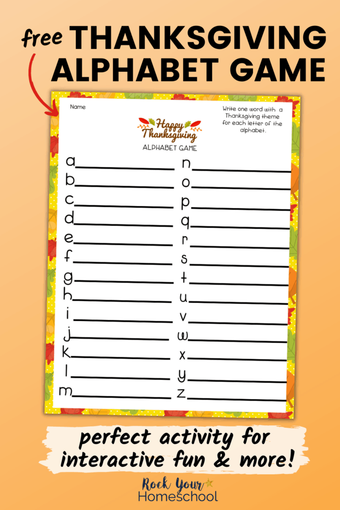 free Thanksgiving alphabet game printable worksheet to feature the fantastic holiday fun your kids will have with this activity