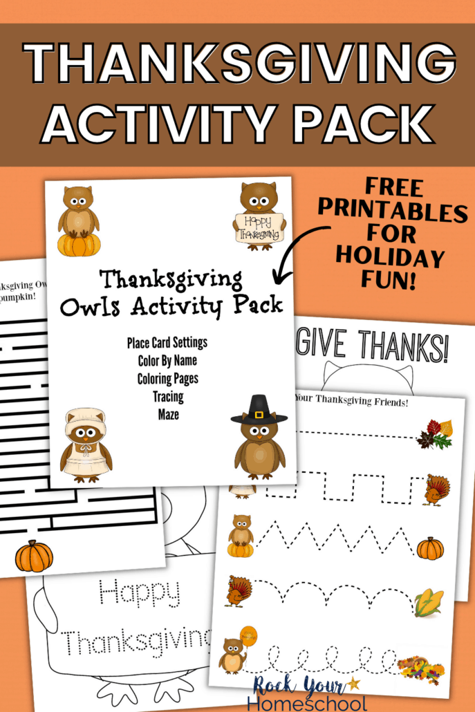 free Thanksgiving owls activity pack with mazes, tracing, coloring pages, and more for special holiday fun for kids