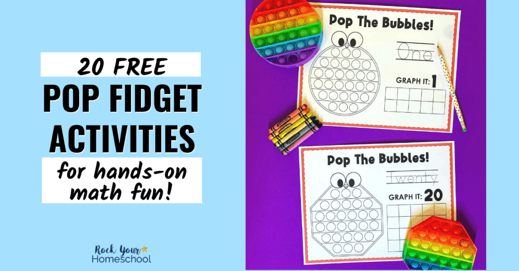 Make math time fun with bubble pop toys! This free printable pack of 20 pop fidget activities is perfect for hands-on math fun for kids.
