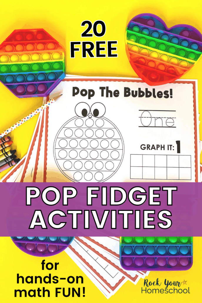 Rainbow bubble pop toys in shapes of octagon, heart, circle, and square with crayons and polka dot pencil and printable pop fidget activities for creative hands-on math fun
