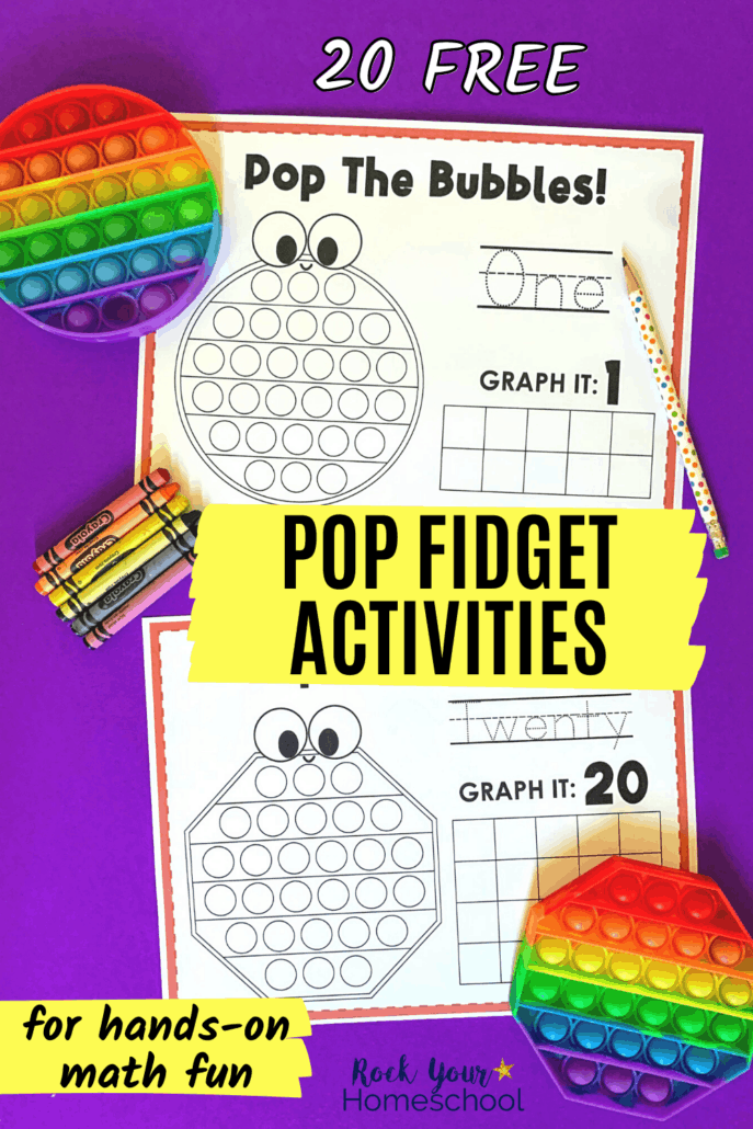 Rainbow bubble pop toys in circle and  octagon with crayons and pencil and printable pop fidget activities for hands-on math fun