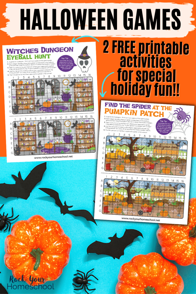 2 free printable Halloween games of Witches Dungeon Eyeball Hunt and Find the Spider in the Pumpkin Patch on light blue background with black paper bats and spiders and small pumpkins