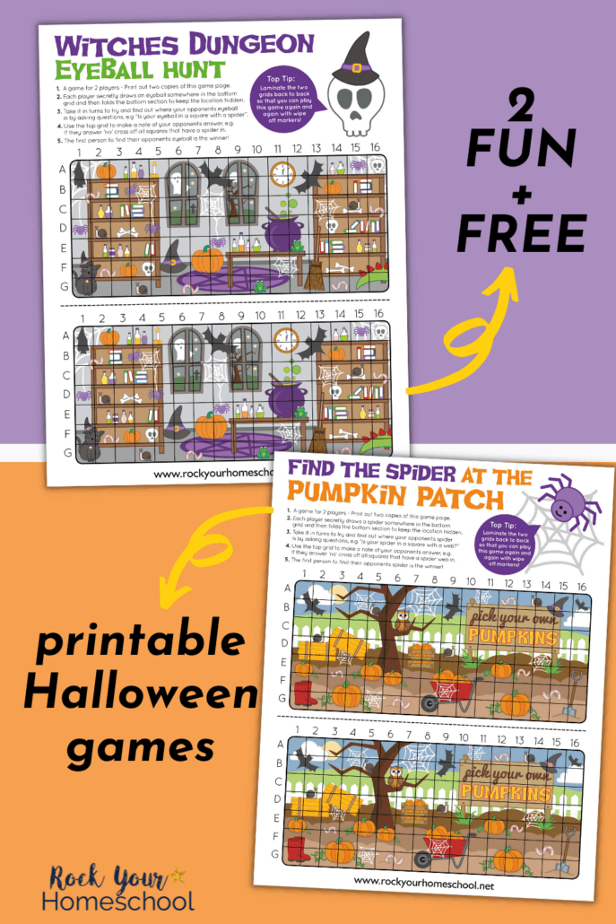 2 free printable Halloween games of Witches Dungeon Eyeball Hunt and Pick the Spider in the Pumpkin Patch