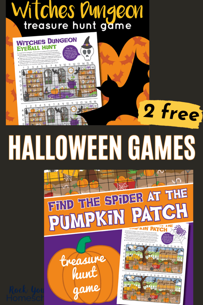 2 free printable Halloween games of Witches Dungeon Eyeball Hunt and Find the Spider in the Pumpkin Patch